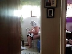 249lb Christine in the bathroom at home.