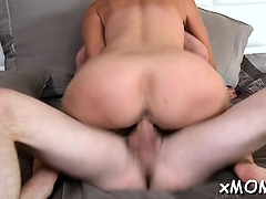 Cute milf with great figure rides cock until large o