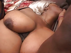 Ebony bbw enjoys two cocks