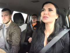 Milf examiner gets two big cocks in car