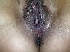 Me pushing out a creampie courtesy of the husband...