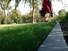 Milf in red dress