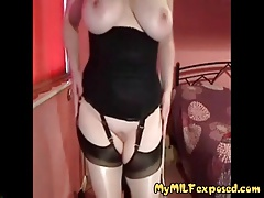 My MILF exposed Busty mature in stockings with glass toy