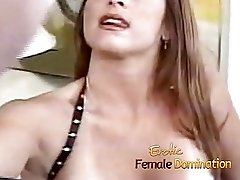 Dominant milf makes her slave take a dildo in the butt